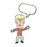 Cartoon angry man waving warning with speech bubble Royalty Free Stock Image