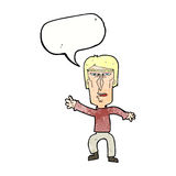 Cartoon angry man waving warning with speech bubble Stock Photo
