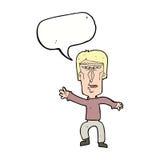 Cartoon angry man waving warning with speech bubble Stock Photography