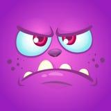 Cartoon angry monster face. Halloween mask or avatar. Vector illustration of troll or goblin. Royalty Free Stock Photos