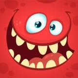Cartoon angry monster face. Halloween vector illustration. Stock Photo