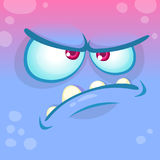 Cartoon angry monster face. Vector Halloween blue monster emotion avatar. Royalty Free Stock Image