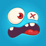 Cartoon angry monster face. Vector Halloween blue monster scared. Monster mask. royalty free stock photography