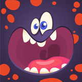 Cartoon angry monster face. Vector image of funny goblin monster . Cartoon angry monster face. Vector image of funny goblin monster vector illustration