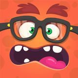 Cartoon angry monster face. wearing glasses. Vector illustration. Cartoon angry monster face. wearing glasses. Vector illustration royalty free illustration