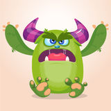 Cartoon angry monster. Halloween vector illustration or troll. Character Royalty Free Stock Photos
