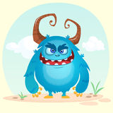 Cartoon angry monster. Vector illustration isolated on simple background. Royalty Free Stock Images