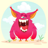 Cartoon angry monster. Vector illustration isolated on simple background. Stock Images