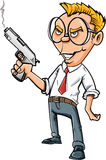 Cartoon angry office worker with a gun Royalty Free Stock Photography