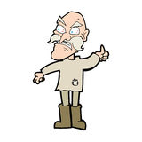 cartoon angry old man in patched clothing Stock Images