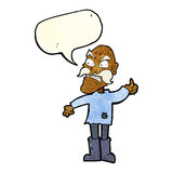 Cartoon angry old man in patched clothing with speech bubble Royalty Free Stock Photography
