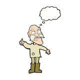 Cartoon angry old man in patched clothing with speech bubble Stock Image