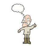 Cartoon angry old man in patched clothing with speech bubble Royalty Free Stock Image