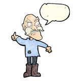 Cartoon angry old man in patched clothing with speech bubble Royalty Free Stock Photos