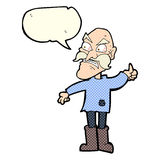 Cartoon angry old man in patched clothing with speech bubble Stock Photo