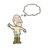 Cartoon angry old man in patched clothing with thought bubble Royalty Free Stock Photo