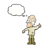 Cartoon angry old man in patched clothing with thought bubble Stock Images