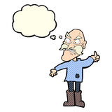 Cartoon angry old man in patched clothing with thought bubble Royalty Free Stock Images