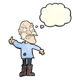Cartoon angry old man in patched clothing with thought bubble Royalty Free Stock Photos