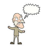 Cartoon angry old man with speech bubble Royalty Free Stock Images