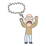 Cartoon angry old man with speech bubble Royalty Free Stock Photography