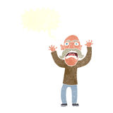 Cartoon angry old man with speech bubble Stock Photos