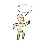 Cartoon angry old man with speech bubble Royalty Free Stock Image