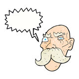 Cartoon angry old man with speech bubble Stock Photography
