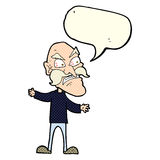 Cartoon angry old man with speech bubble Royalty Free Stock Photos