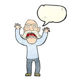 Cartoon angry old man with speech bubble Stock Images