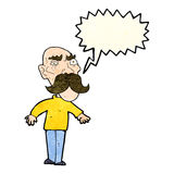 Cartoon angry old man with speech bubble Stock Image