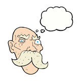 Cartoon angry old man with thought bubble Stock Images