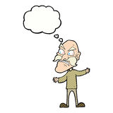 Cartoon angry old man with thought bubble Royalty Free Stock Photo