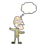 Cartoon angry old man with thought bubble Stock Photography