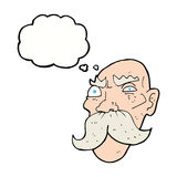Cartoon angry old man with thought bubble Royalty Free Stock Images