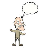 Cartoon angry old man with thought bubble Royalty Free Stock Photography