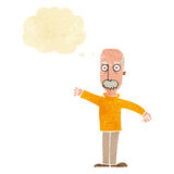 Cartoon angry old man with thought bubble Royalty Free Stock Image