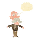 cartoon angry old man with thought bubble Royalty Free Stock Photos