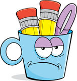 Cartoon angry pencil cup Stock Photo