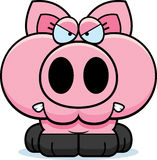 Cartoon Angry Pig. A cartoon illustration of a little pig with an angry expression vector illustration