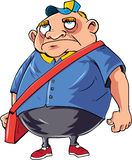 Cartoon angry postman in a bad mood Royalty Free Stock Images