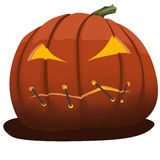 Cartoon angry pumpkin with closed mouth Stock Photography