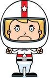 Cartoon Angry Race Car Driver Girl Royalty Free Stock Photography