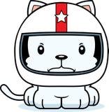 Cartoon Angry Race Car Driver Kitten Stock Image
