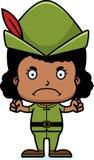 Cartoon Angry Robin Hood Girl Stock Images