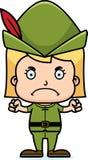 Cartoon Angry Robin Hood Girl Stock Image
