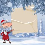 Cartoon angry Santa Claus points with his finger on an empty sheet in a winter forest. Cartoon angry Santa Claus points with his finger on an empty sheet in Stock Photos