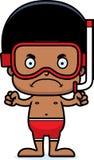 Cartoon Angry Snorkeler Boy Royalty Free Stock Image