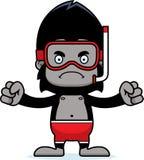 Cartoon Angry Snorkeler Gorilla Royalty Free Stock Photography