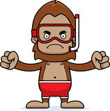 Cartoon Angry Snorkeler Sasquatch Royalty Free Stock Photo